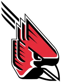 Ball State Cardinals Primary Logo (1990) - A downward looking, abstract cardinal with motion lines