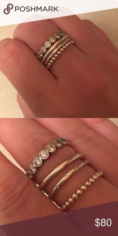 Pandora Stackable Rings Size 58 for all which I believe is equivalent to a 7 in standard sizing. All mint condition and will be cleaned with a Pandora cleaning cloth before shipped. Comes with all 4 stackable rings. Pandora Jewelry Rings