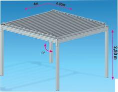 Pergola bioclimatique étanche SunUmbrella Eco, équipée de panneaux photovoltaïques. Vente pergola à lames orientables étanche en aluminium extrudé, autonome en alimentation électrique.