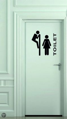 "Muursticker of deursticker Toilet ""gluren"" M zwart Dental Office Design, Office Interior Design, Office Interiors, Wayfinding Signage, Signage Design, Small Toilet Room, Door Murals, Clinic Design, Toilet Design"