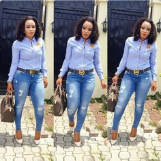 Denim shirt tucked into ripped skinny ankle jeans.Today we are present to you some trendy collection of casual outfits which are beautiful which you can steal there styles while hanging with friends and spouse during the weekend . Work Fashion, Denim Fashion, Fashion Outfits, Fashion Styles, Classy Work Outfits, Stylish Outfits, Business Casual Attire, Casual Work Attire, Latest African Fashion Dresses