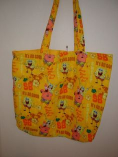 Large Tote in Sponge Bob Squarepants by KerrysCrafts on Etsy, $10.50