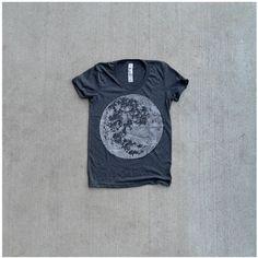 Full moon screenprint on American Apparel heather black tshirt - My Moon, My Man. $25 Black Bird Tees