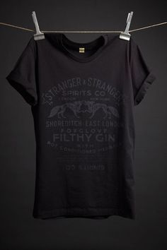 Black cotton t-shirt with exclusive Filthy Gin design by Stranger & Stranger. 100% cotton Alternative Apparel Basic Crew.