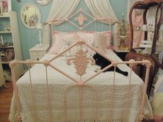 old wrought iron bed full size | shabby chic antique bed frame pink wrought iron full double vintage ...
