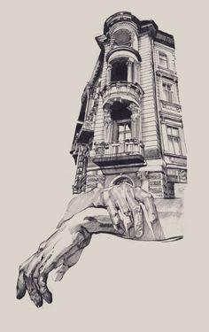 Arquitectura e ilustración por Dasha Pliska.