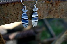 Unique whimsical fish earrings stainless steel by HorakovaDesigns, $21.00