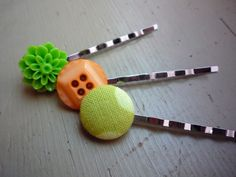 Orange & Green Bobby Pins  Set of 3 by NinthStreetNotions on Etsy #blackfriday #accessories