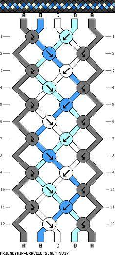 friendship bracelet patterns - 5 strings 12 rows 4 colors