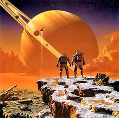 Some great classic science fiction art. Large ringed planets in the sky always look good.