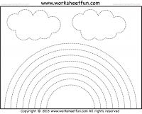 Rainbow tracing and coloring - 4 worksheets