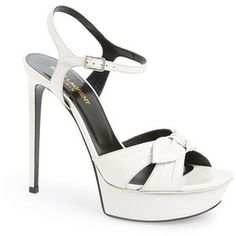 SAINT LAURENT Bianca Leather Platform Sandal White $825  (Compare Elsewhere $945) SHIPS FREE BEST PRICES YOU WILL FIND ANYWHERE ON GENUINE LADIES DESIGNER BRANDS! FREE WORLD SHIPPING & LOCAL DELIVERY AVAILABLE AT THE SURF CITY SHOP in Huntington Beach, California Major Credit Cards Accepted