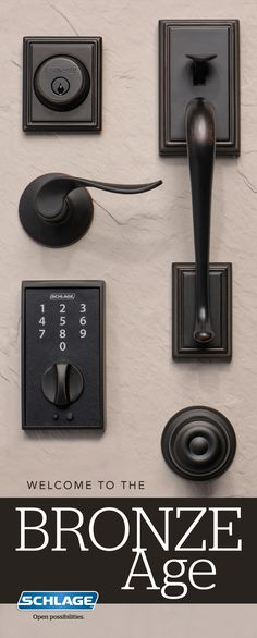 Make a bold statement with Schlage Aged Bronze door hardware