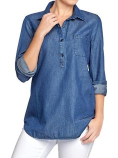 Old Navy Chambray Tunic Worn once! Chambray tunic pullover that matches everything! Old Navy Tops Tunics Cute Blouses, Shirt Blouses, Chambray Tunic, Tailored Shirts, Preppy Style, Navy Style, Petite Tops, Old Navy Women, Sweaters For Women