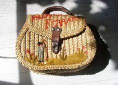French Wicker Embroidered Child's Purse 1930's