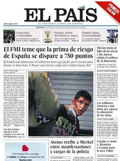 La primera edición del diario El País del 10 de octubre de 2012, aparece con una portada con noticias firmadas, pero de temas internacionales. La sección de Nacional, de diez páginas, solo lleva firmadas dos de ellas, de acuerdo con las medidas anunciadas por el Comité de Empresa ante el Expediente de regulación de empleo (ERE), en el periódico.