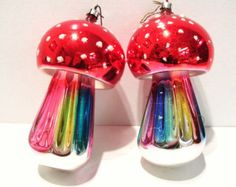 """2 Vintage Glass Toadstools West Germany Christmas Ornaments Mid Century 4"""" Tall - Edit Listing - Etsy"""