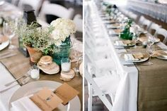 A summer picnic wedding with hessian table runners and centerpieces with herbs, lanterns and white flowers. Reception Table, Wedding Table, Wedding Reception, Wedding Ideas, Wedding Inspiration, Wedding Stuff, Bush Wedding, Wedding Happy, Reception Ideas