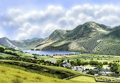 A Ken Burdon painting of the Buttermere Valley from above the village