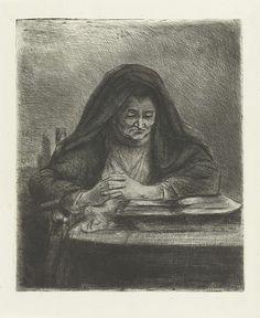 Jan Chalon   Lezende vrouw, Jan Chalon, 1790   Een oude vrouw. Ze zit op een stoel voor een bureau en leest uit een boek. Ze draagt een zwarte sluier.