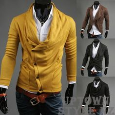 Men's Side Button Cardigan Jumper