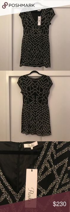 NWT Parker Black & Silver Sequin Dress, Size L Black with silver sequin cocktail dress, brand new with tags, mint condition!! Stunning for any event! Parker Dresses Mini