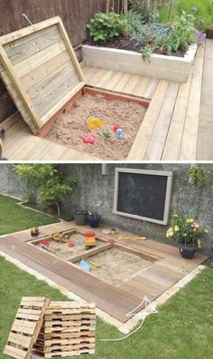 17 Cute Upcycled Pallet Projects for Kids Outdoor Fun – Children love to play in the sand! Here we found a great DIY idea on how to create a little childre – - 17 Cute Upcycled Pallet Projects for Kids Outdoor Fun - Children love to play i. Outdoor Fun For Kids, Backyard For Kids, Backyard Patio, Wedding Backyard, Kids Yard, Backyard Play Areas, Pergola Patio, Outdoor Play Areas, Kids Outdoor Spaces
