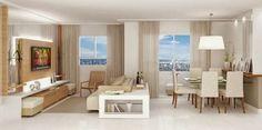 Construindo Minha Casa Clean: Salas de Estar e de TV Modernas!!! mais uma estante lateral vazada ao redor do sofa