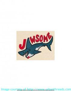 Stickbild Stickemblem  Hai Fische