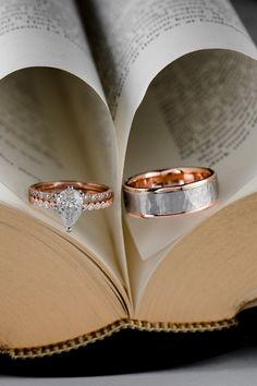 This 14k rose gold wedding set is the perfect match. The vintage diamond engagement ring features 14 brilliant bezel-set round diamonds that pair perfectly with the bezel-set diamond wedding band. Add a 14k two-tone gold men's band and the set is complete.
