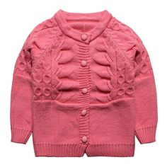 Little Girls Baby Hemp Flowers Cashmere Cardigan Sweater Deep Pink Size 24M >>> Click on the image for additional details. (This is an affiliate link)