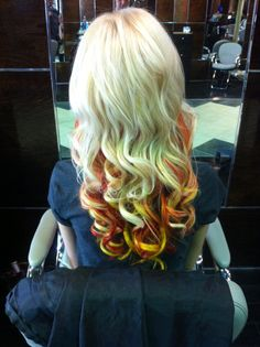 Candy Corn hair for fall! With HotHeads Extensions and special effects color by Kristina