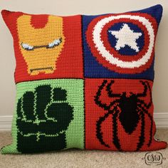 Marvel Superhero Pillow - full crochet and sewing DIY instructions on Colorful Christine - Ironman, Captain America, Hulk, Spider-Man