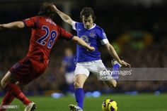 30 January 2013 Leighton Baines bursts forward to drive home Everton's first against West Brom