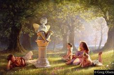 Fairy Tales Metal Print by Greg Olsen. All metal prints are professionally printed, packaged, and shipped within 3 - 4 business days and delivered ready-to-hang on your wall. Choose from multiple sizes and mounting options. Greg Olsen Art, Lds Art, Caillou, Thing 1, Fairytale Art, Hans Christian, Winx Club, Albert Einstein, Grimm