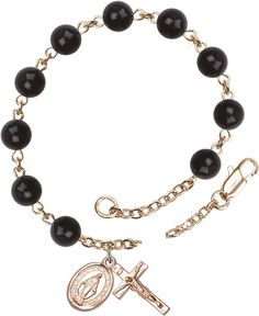 14kt Gold Filled Rosary Bracelet features 6mm Black 'Precious Stone' beads. The Crucifix measures 5/8 x 1/4. Each Rosary Bracelet is presented in a deluxe velve