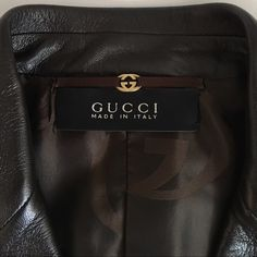 GORGEOUS Gucci Leather Jacket Authentic. I purchased this at the Gucci store. Excellent condition. There is a little white spot on lower front of jacket and two tiny white spots on the back that you can barely see. It can probably be taken out with leather cleaner. Size 42. Flattering Gucci tailoring. Gucci Jackets & Coats Blazers