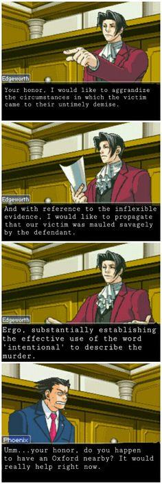 edgeworth ace attorney memes