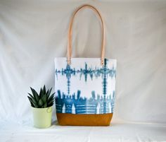 Shibori Tote Bag  Indigo Dye Canvas Shoulder Bag  by 162PENS, $80.00
