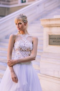 Airy and ethereal! Anem Collections. Dreamy wedding dress in an amazing styleshooting in the city in the heart of Athens! Amazing bridal creations and beautiful brides! www.anemcollections.gr