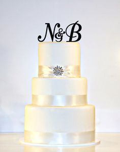 Custom -  2 Initials and Ampersand Monogram Acrylic Cake Topper in Any Letters A B C D E F G H I J K L M N O P Q R S T U V W X Y Z