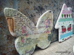 Φιγούρες με πηλό και ντεκουπάζ Decoupage, Crafts, Cards, Manualidades, Handmade Crafts, Craft, Arts And Crafts, Artesanato, Handicraft