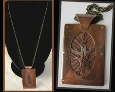 Sacred TREE-Artisan Layered Copper Pendant,Brass Rivets/Chain,Wiccan,Mother Earth,Vintage Jewelry,Unisex