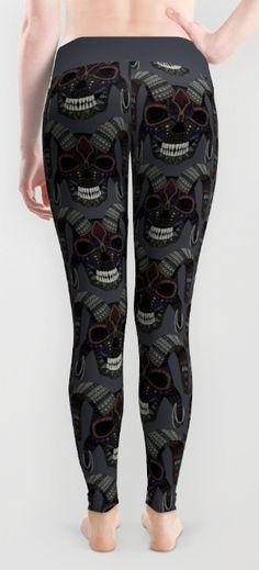 demon skull leggings @society6 #demonic #leggings #halloween #horror #scary #gothic #fashion #illustration #devil #ram #skull #skulls #black #gray #grey