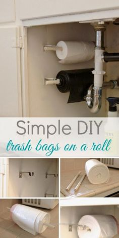 Life Hacks For Living Large In Small Spaces  Simple DIY: Trash Bags On A Roll.  http://www.coolhomedecordesigns.us/2017/06/22/life-hacks-for-living-large-in-small-spaces-2/
