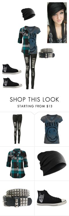 """Nirvana emo"" by alone-by-fate ❤ liked on Polyvore featuring Boohoo, Chaser, Full Tilt and Converse"