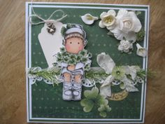 OOAK  Magnolia Clover Tilda   Hand made greeting Card