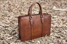 Handmade Vintage Full Grain Leather Briefcase | Laptop Bag | Dark Brow – Woods&Leather