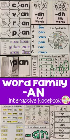 This is a Word Family Interactive Notebook to help students practice and learn CVC words and word families. There are 22 different activities for the word family -an to help your students master the word family. You may choose which activities are best for your students. The activities include: - Sort by word family - Word Family Word Search - ABC Order - Roll, Write, Graph - Spin, Write, Graph - Real & Not Real Pockets - Building Words - Highlight then Trace - Color the Pictures - Decorate…