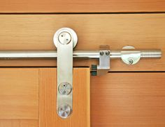 Barn door hardware detail...seen used in glass doors in bathroom, mabe in hallways to save sapce?